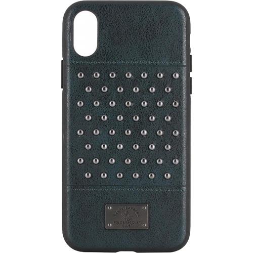 Чехол-накладка Santa Barbara Polo &amp; Racquet Club Stacatto Series для iPhone X изумрудныйЧехлы для iPhone X<br>Сочетание высококачественной кожи и металла делаю чехол поистине роскошным аксессуаром для вашего iPhone X!<br><br>Цвет: Зелёный<br>Материал: Кожа, пластик, металл