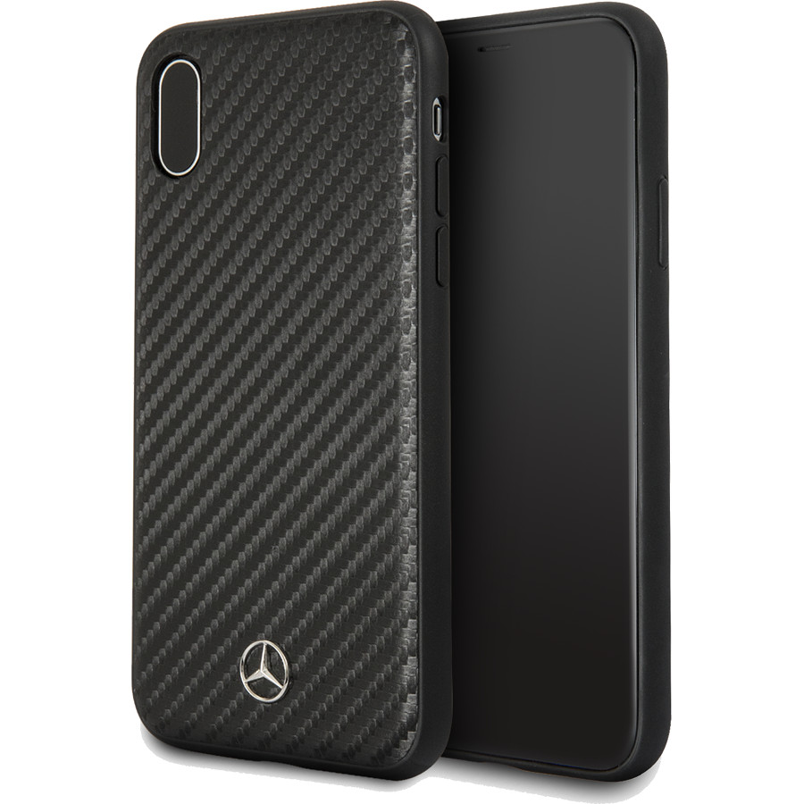 Чехол Mercedes Dynamic Hard PU для iPhone X чёрный карбонЧехлы для iPhone X<br>Полиуретановая кожа с текстурой «под карбон» смотрится поистине эффектно.<br><br>Цвет: Чёрный<br>Материал: Экокожа, поликарбонат, силикон