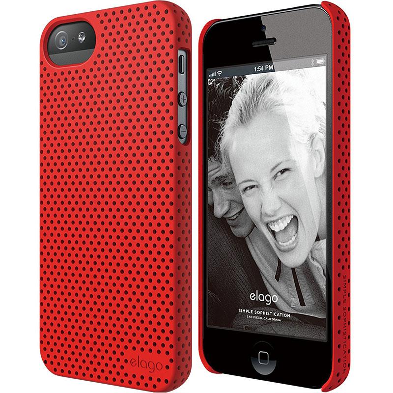 Чехол Elago Breathe Hard PC (perforated) для iPhone 5S/SE красныйЧехлы для iPhone 5/5S/SE<br>Elago Breathe Hard PC справляется с защитой iPhone на отлично!<br><br>Цвет: Красный<br>Материал: Поликарбонат, полиуретан