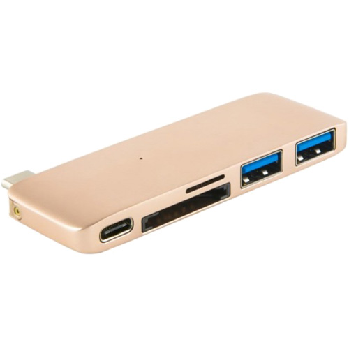 Переходник Red Line Multiport Adapter Type-C золотойХабы - разветвители USB<br>Multiport adapter Type-C Red Line для ноутбука золотой<br><br>Цвет товара: Золотой<br>Материал: Алюминий