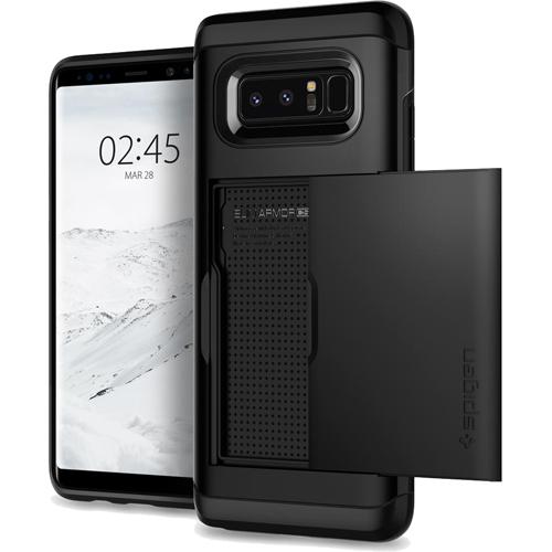 Чехол Spigen Slim Armor CS для Samsung Galaxy Note 8 чёрный (587CS22070)Чехлы для Samsung Galaxy Note<br>Spigen Slim Armor CS — это два прочнейших слоя защиты от повреждений для вашего смартфона, плюс отделение для ваших кредитных карт или визиток.<br><br>Цвет товара: Чёрный<br>Материал: Термопластичный полиуретан, поликарбонат