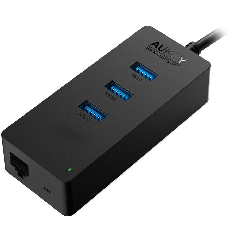 Хаб Aukey 3-Port USB 3.0 Hub with Gigabit Ethernet Port (CB-H15)Хабы - разветвители USB<br>Компактный USB-хаб, совмещённый с Ethernet-адаптером.<br><br>Цвет товара: Чёрный<br>Материал: Пластик