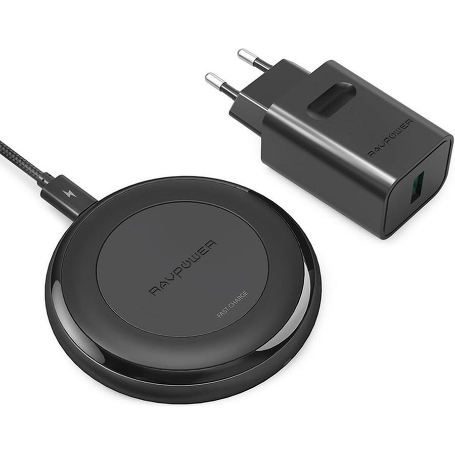 Беспроводное зарядное устройство RavPower HyperAir Fast Wireless Chargers QC 3.0 Adapter 10W (RP-PC058)Сетевые и беспроводные зарядки<br>Зарядная панель с технологией Qi от RavPower с поддержкой стандарта быстрой зарядки QC 3.0<br><br>Цвет: Чёрный<br>Материал: Пластик, силикон