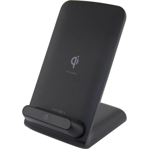 Беспроводное зарядное устройство EnergEA WiDock Fast Wireless Stand чёрноеСетевые зарядки<br>Совмещая зарядное устройство и подставку EnergEA WiDock Fast Wireless Stand позволяет комфортно просматривать фильмы или общаться по FaceTime, не прерывая за...<br><br>Цвет товара: Чёрный<br>Материал: Пластик