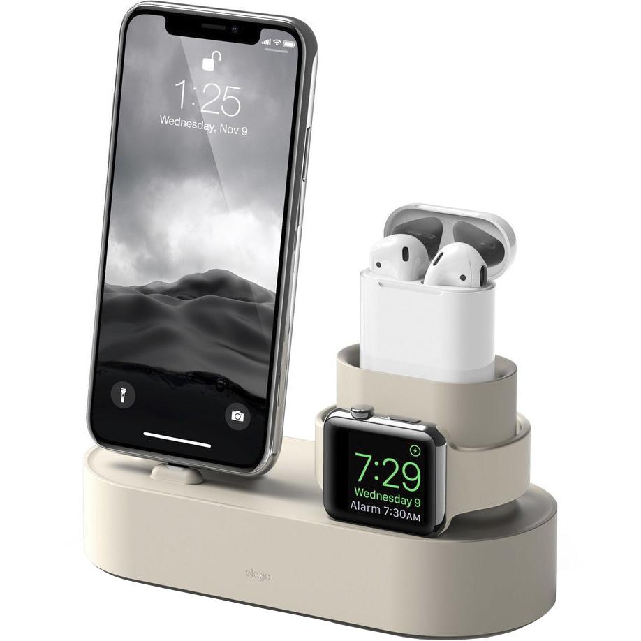 Док-станция Elago Charging Hub для iPhone / Apple Watch / AirPods белая (Classic White)Докстанции/подставки<br>Elago Charging Hub — удобная и функциональная док-станция для гаджетов от Apple!<br><br>Цвет: Белый<br>Материал: Силикон