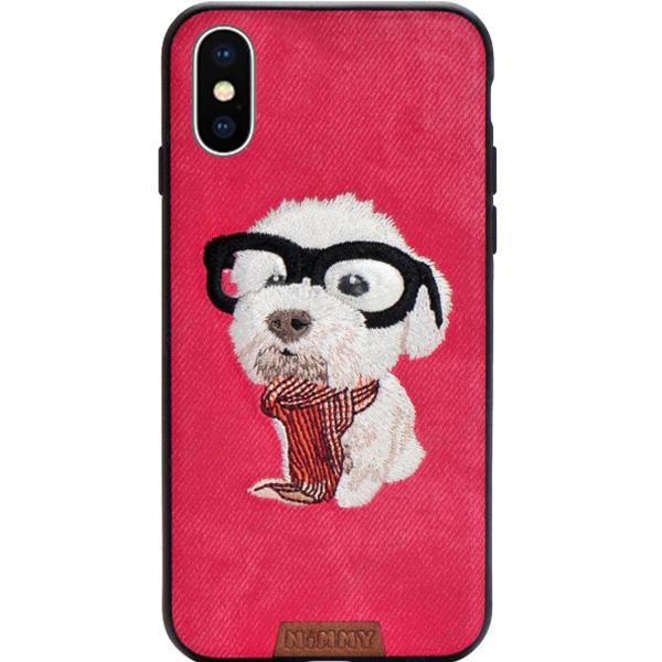 Чехол Nimmy Pet Denim для iPhone X (Щенок с шарфом) красныйЧехлы для iPhone X<br>Nimmy Pet Denim притягивает взгляд окружающих с первой секунды.<br><br>Цвет: Красный<br>Материал: Пластик, силикон, текстиль