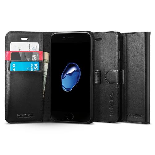 Чехол Spigen Wallet S для iPhone 7 (Айфон 7) чёрный (SGP-042CS20545)Чехлы для iPhone 7<br><br><br>Цвет товара: Чёрный<br>Материал: Поликарбонат, полиуретановая кожа