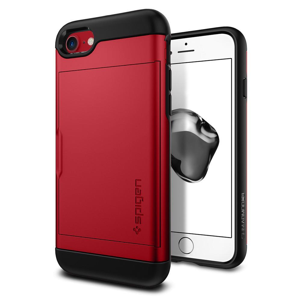 Чехол Spigen Slim Armor CS для iPhone 7/ iPhone 8 красный (SGP-042CS21725)Чехлы для iPhone 7<br><br><br>Цвет товара: Красный<br>Материал: Поликарбонат, полиуретан