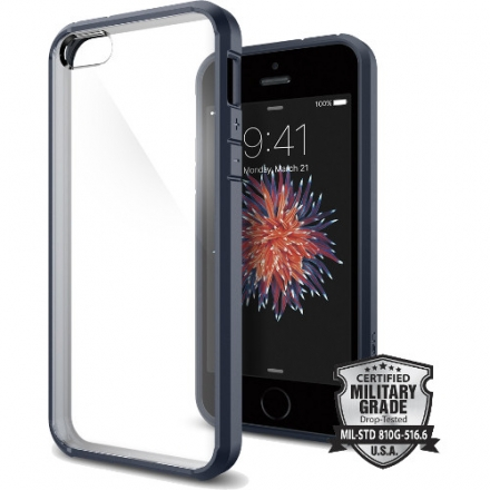 Чехол Spigen Ultra Hybrid для iPhone 5/5S/SE тёмно-синий (SGP-041CS20248)Чехлы для iPhone 5s/SE<br>Чехол Spigen Ultra Hybrid для iPhone SE синий металлик (SGP-041CS20248)<br><br>Цвет товара: Синий<br>Материал: Пластик, резина