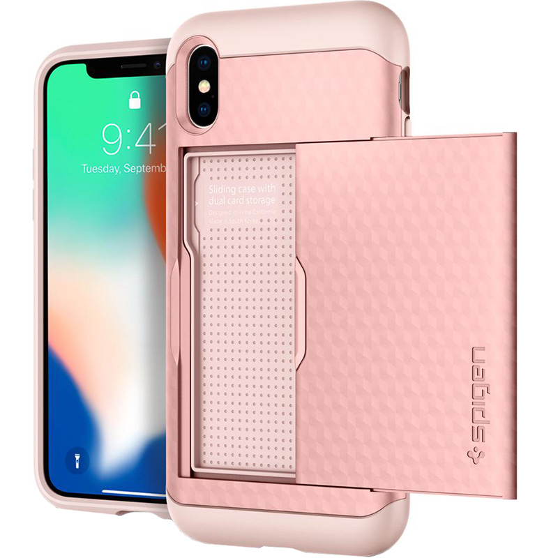 Чехол Spigen Crystal Wallet для iPhone X розовое золото (057CS22152)Чехлы для iPhone X<br>Spigen Crystal Wallet — это два прочнейших слоя защиты от повреждений!<br><br>Цвет: Розовое золото<br>Материал: Термопластичный полиуретан, поликарбонат<br>Модификация: iPhone 5.8