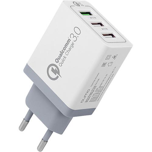 Сетевое зарядное устройство Qumo Quick Charge 3.0 3 USB белоеСетевые и беспроводные зарядки<br>Высококачественное сетевое зарядное устройство с поддержкой технологии быстрой зарядки Quick Charge 3.0!<br><br>Цвет товара: Белый<br>Материал: Пластик
