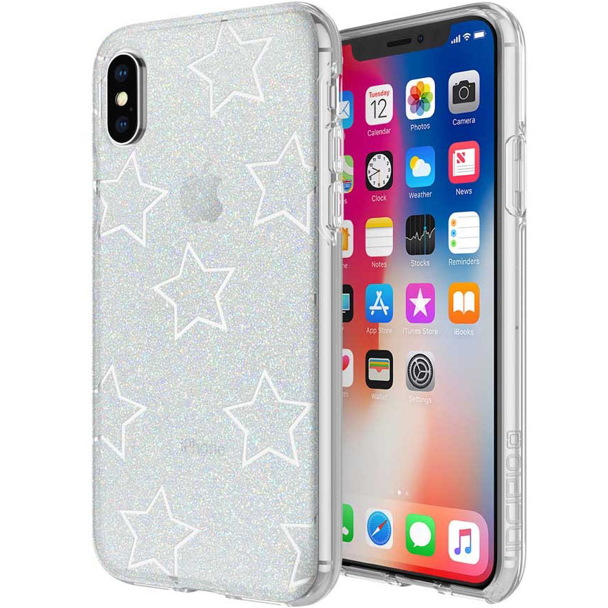 Чехол Incipio Design Series Classic для iPhone X серебристый (Glitter Star Cut Out)