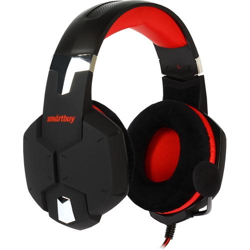 Игровая гарнитура Smartbuy Rush Viper чёрный/красный (SBHG-2200)Полноразмерные наушники<br>Игровая гарнитура Smartbuy Rush Viper чёрный/красный (SBHG-2200)<br><br>Цвет товара: Красный<br>Материал: Пластик, металл, велюр
