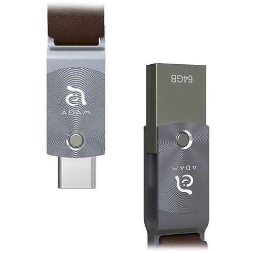 Флеш-накопитель ADAM elements ROMA 64GB USB Type-C OTG серыйФлешки для смартфонов и планшетов<br>ADAM elements ROMA — компактный и стильный флеш-накопитель с двойным интерфейсом: USB Type-C и USB 3.1 Type-A<br><br>Цвет товара: Серый<br>Материал: Сплав цинка, алюминий, натуральная кожа<br>Модификация: 64 Гб