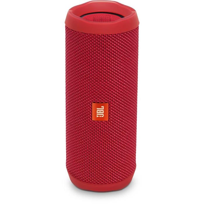 Портативная акустическая система JBL Flip 4 краснаяКолонки и акустика<br>Портативная и водонепроницаемая беспроводная акустическая система JBL Flip 4 с удивительно мощным звучанием и множеством полезных функций.<br><br>Цвет товара: Красный<br>Материал: Пластик, текстиль