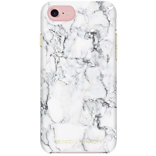 Чехол Rebecca Minkoff Double Up Protection Case для iPhone 7 Marble Print Silver Foil
