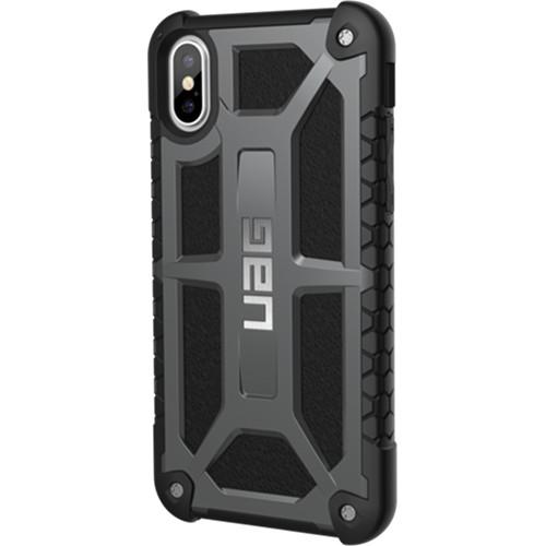 Чехол UAG Monarch Series Case для iPhone X графитовыйЧехлы для iPhone X<br>UAG Monarch Series Case — это целых 5 слоёв защиты и особые технологии, позволяющие уберечь ваш iPhone X от самых различных повреждений.<br><br>Цвет товара: Серый<br>Материал: Термопластичный полиуретан, поликарбонат, натуральная кожа, металл