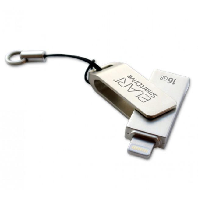 Флешка Elari SmartDrive 16 Гб для iOS / Mac / PCФлешки для смартфонов и планшетов<br>Флешка Elari SmartDrive 16 Гб для iOS / Mac / PC<br><br>Цвет товара: Серебристый<br>Материал: Пластик, металл<br>Модификация: 16 Гб