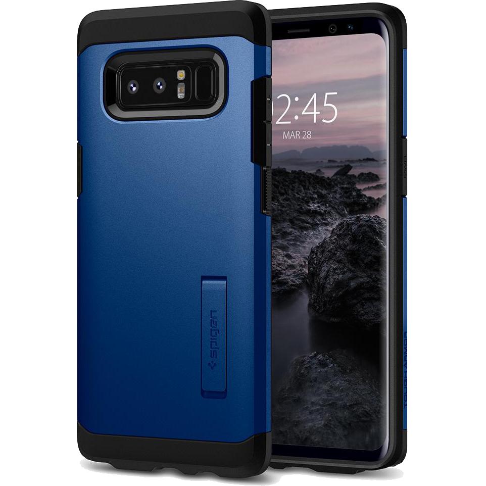Чехол Spigen Tough Armor для Samsung Galaxy Note 8 тёмно-синий (587CS22083)Чехлы для Samsung Galaxy Note<br>Spigen Tough Armor — это два прочнейших слоя защиты от повреждений для вашего смартфона.<br><br>Цвет товара: Синий<br>Материал: Термопластичный полиуретан, поликарбонат