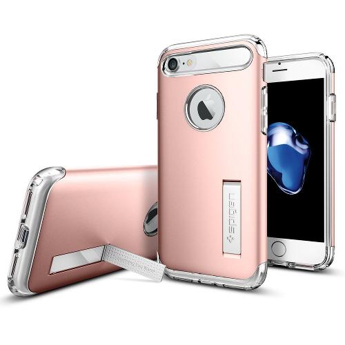 Чехол Spigen Slim Armor для iPhone 7, iPhone 8  розовое золото (SGP-042CS20303)Чехлы для iPhone 7<br>Spigen Slim Armor — это тончайшая двухслойная защита для вашего Айфон.<br><br>Цвет товара: Розовое золото<br>Материал: Поликарбонат, полиуретан
