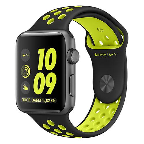 Умные часы Apple Watch Nike+ 42 мм, алюминий «серый космос», спортивный ремешок Nike «чёрный/салатовый»Умные часы<br>Apple Watch Nike+ — новейшие и одни из самых инновационных в мире часы!<br><br>Цвет товара: Серый космос<br>Материал: Металл, силикон<br>Модификация: 42 мм