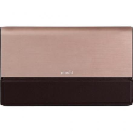 Внешний аккумулятор Moshi IonBank 10K бронзовыйВнешние аккумуляторы<br>Внешний аккумулятор Moshi IonBank 10K бронзовый<br><br>Цвет товара: Розовое золото<br>Материал: Металл, кожа