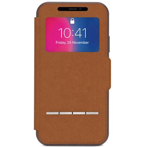 Чехол Moshi SenseCover для iPhone X коричневыйЧехлы для iPhone X<br>Проверяйте дату, время, отвечайте и отклоняйте звонки, используйте Apple Pay, не открывая крышки чехла!<br><br>Цвет товара: Коричневый<br>Материал: Поликарбонат, полиуретановая кожа
