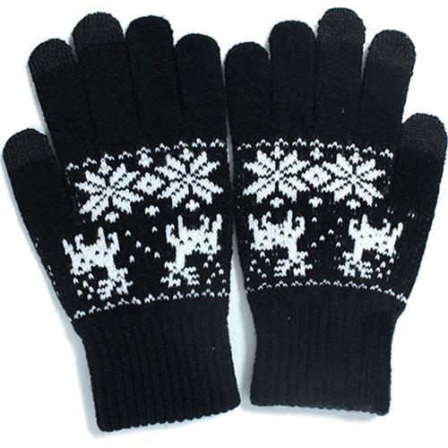Перчатки iGloves (p3) для iPhone/iPod/iPad/etc чёрные с оленями (Размер M) от iCases