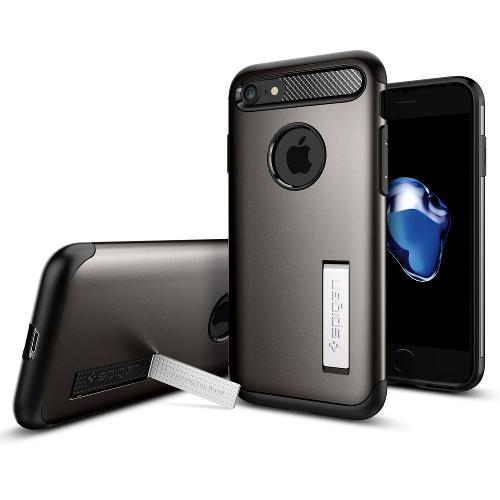 Чехол Spigen Slim Armor для iPhone 7, iPhone 8 тёмный металлик (SGP-042CS20301)Чехлы для iPhone 7<br>Spigen Slim Armor — это тончайшая двухслойная защита для вашего Айфон.<br><br>Цвет товара: Серый<br>Материал: Поликарбонат, полиуретан