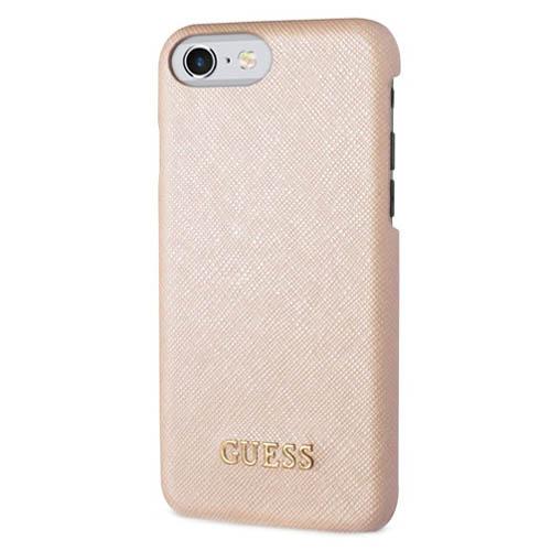 Чехол Guess Saffiano Look Hard PU для iPhone 7 бежевыйЧехлы для iPhone 7<br>Saffiano Look Hard PU защитит смартфон от загрязнений, царапин, потертостей и трещин.<br><br>Цвет товара: Бежевый