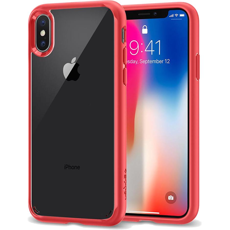 Чехол Spigen Case Ultra Hybrid для iPhone X красный (057CS22130)Чехлы для iPhone X<br>Кристальная ясность и два слоя защиты для вашего iPhone X.<br><br>Цвет товара: Красный<br>Материал: Термопластичный полиуретан, поликарбонат