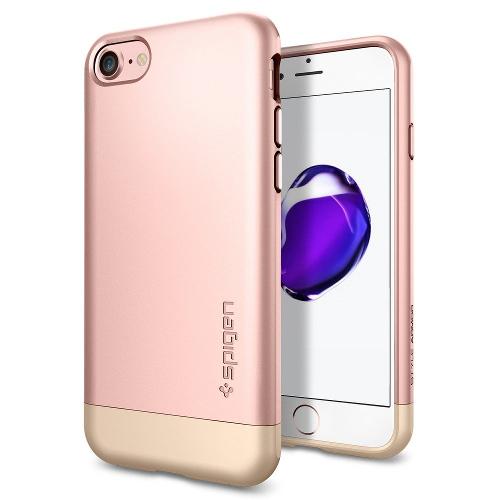 Чехол Spigen Style Armor для iPhone 7, iPhone 8 розовое золото (SGP-042CS20517)Чехлы для iPhone 7<br>Чехол Spigen Style Armor для iPhone 7 (Айфон 7) розовое золото (SGP-042CS20517)<br><br>Цвет товара: Розовое золото<br>Материал: Поликарбонат, текстиль