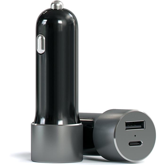 Автомобильное зарядное устройство Satechi USB-C Car Charger для ноутбуков и планшетов чёрная (ST-TCUCCM)Автозарядки<br>Высококачественное автомобильное зарядное устройство, подходящее для большинства современных гаджетов.<br><br>Цвет товара: Чёрный<br>Материал: Металл, пластик