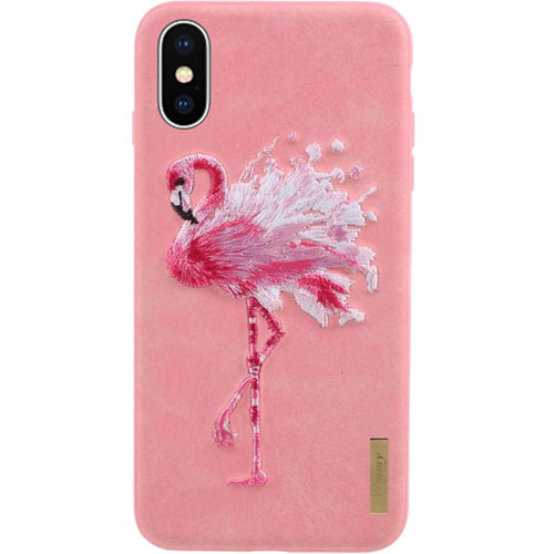 Чехол Nimmy Animal Denim для iPhone X (Фламинго)Чехлы для iPhone X<br>Оригинальный и надёжный чехол Nimmy Animal Denim притягивает взгляд окружающих с первой секунды.<br><br>Цвет товара: Розовый<br>Материал: Пластик, силикон, текстиль