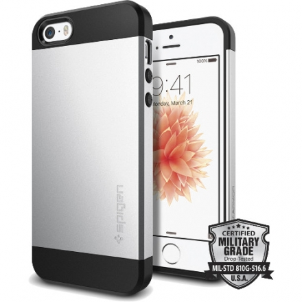 Чехол Spigen Slim Armor для iPhone 5/5S/SE (SGP-041CS20249)Чехлы для iPhone 5s/SE<br>Чехол Spigen Slim Armor для iPhone SE серебристый (SGP-041CS20249)<br><br>Материал: Пластик, резина