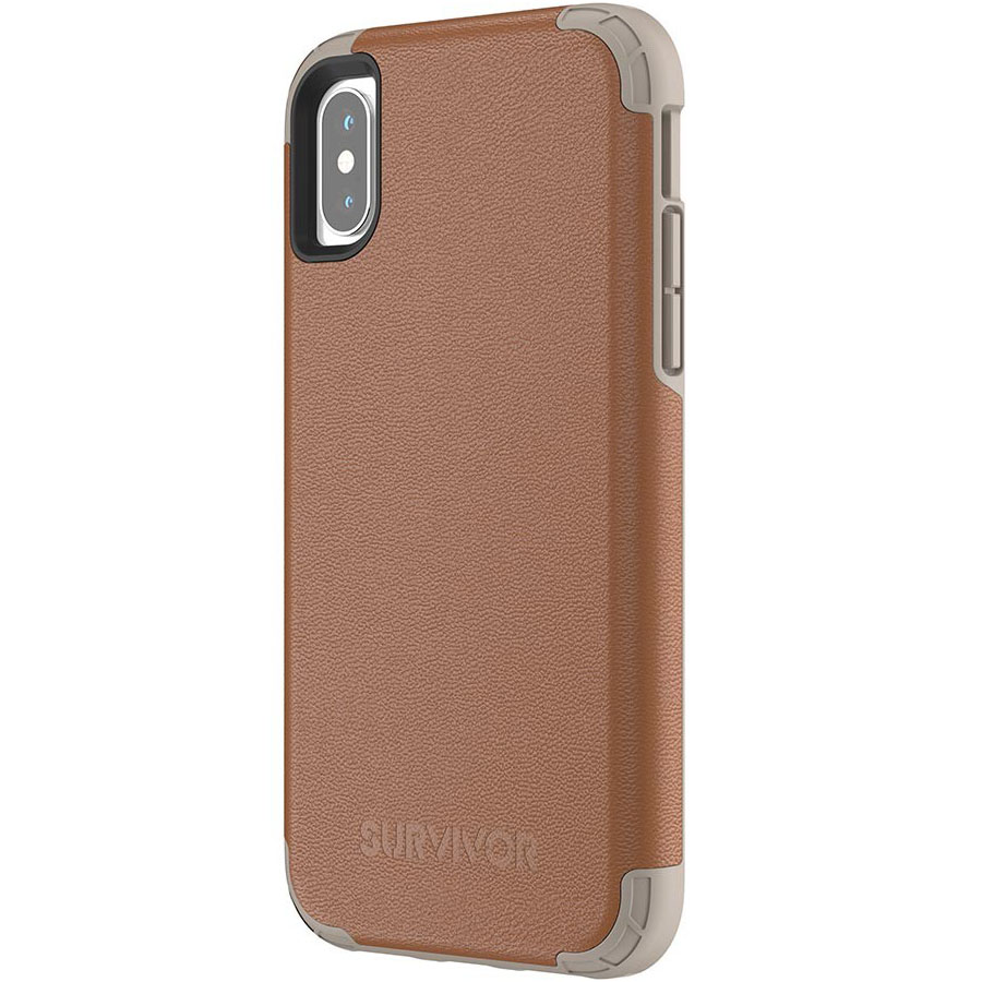 Чехол Griffin Survivor Prime для iPhone X коричневыйЧехлы для iPhone X<br>Survivor Prime защитит iPhone X и придаст его внешнему виду ещё больше шика!<br><br>Цвет товара: Коричневый<br>Материал: Поликарбонат, полиуретановая кожа