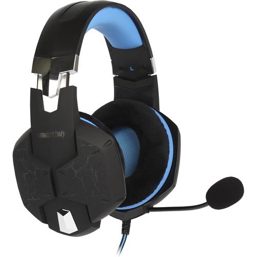 Игровая гарнитура Smartbuy Rush Taipan чёрный/синий (SBHG-3000)Полноразмерные наушники<br>Игровая гарнитура Smartbuy Rush Taipan чёрный/синий (SBHG-3000)<br><br>Цвет товара: Синий<br>Материал: Пластик, металл, велюр