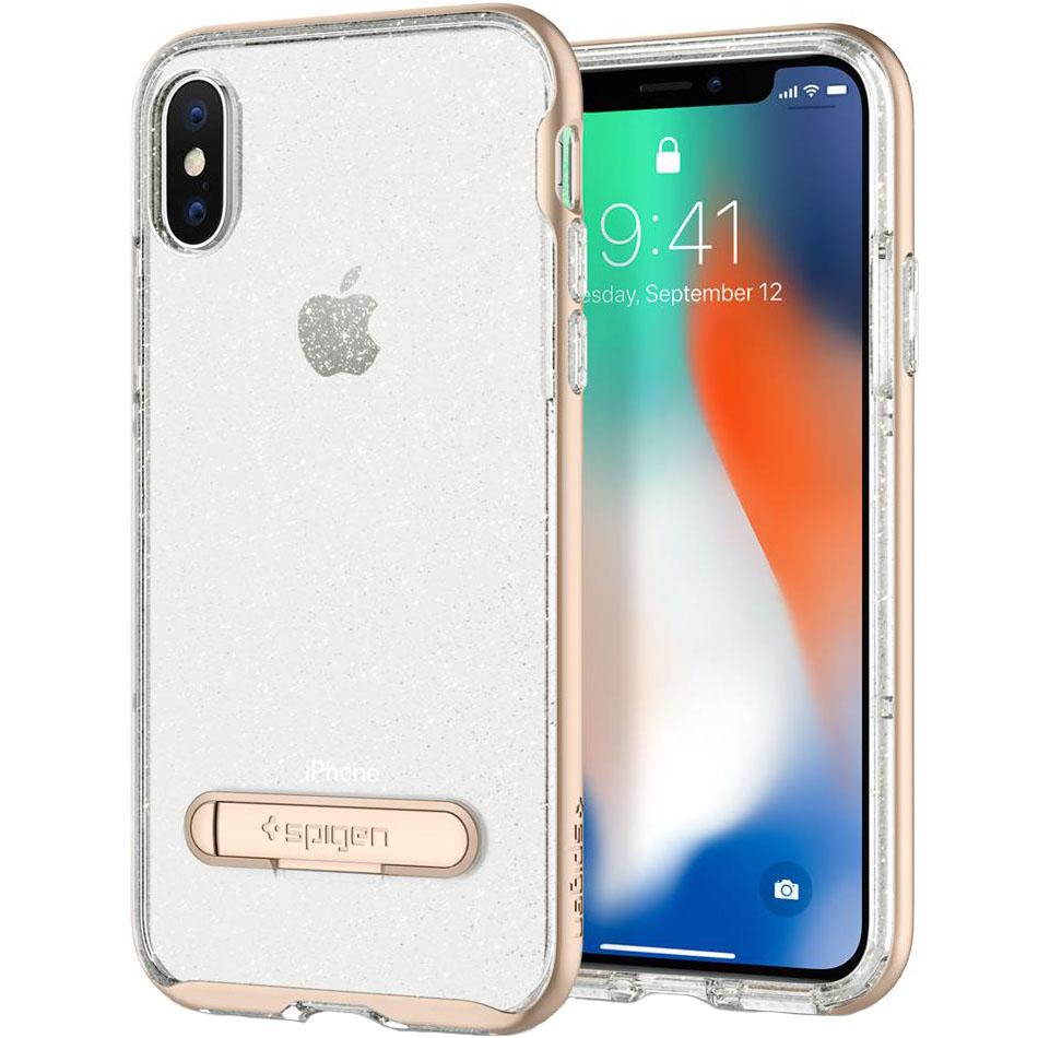 Чехол Spigen Crystal Hybrid Glitter для iPhone X золотой кварц (057CS22149)Чехлы для iPhone X<br>Crystal Hybrid Glitter обеспечит iPhone X защитой и блеском, которых он заслуживает!<br><br>Цвет товара: Золотой<br>Материал: Термопластичный полиуретан, поликарбонат