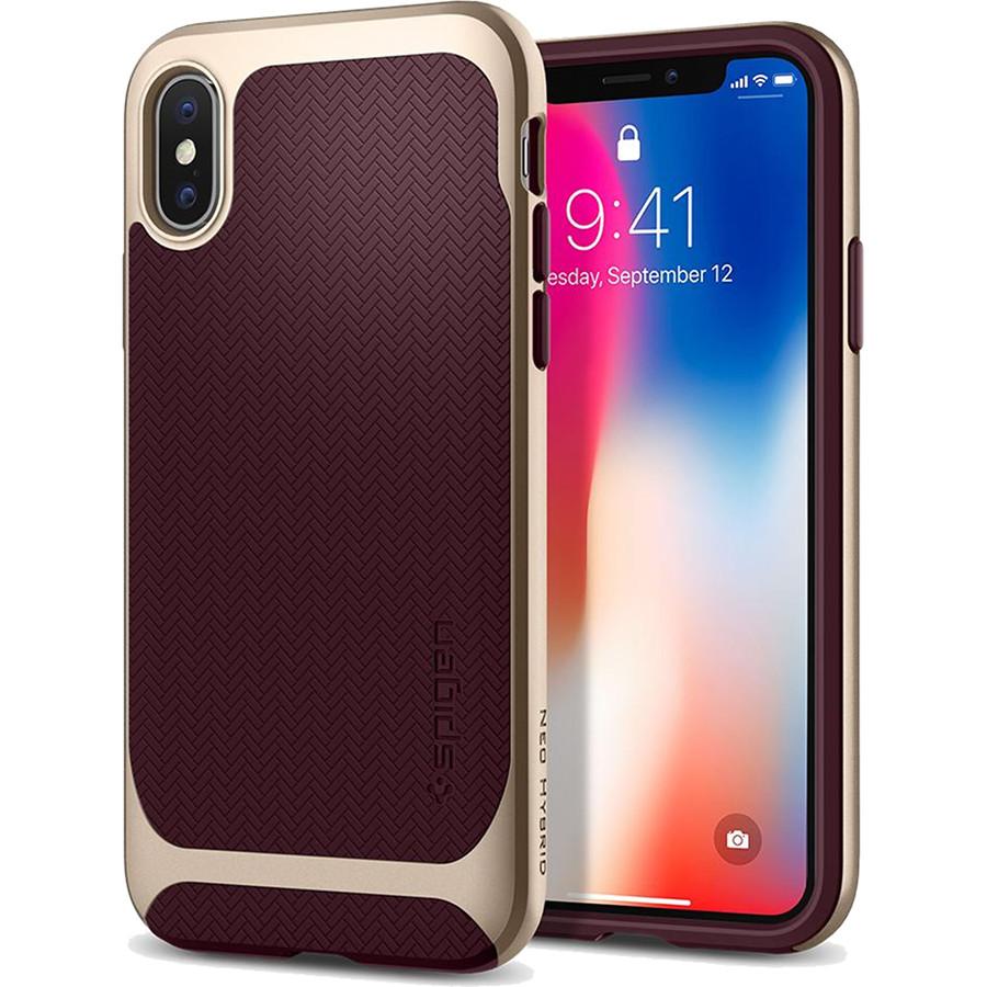 Чехол Spigen Case Neo Hybrid для iPhone X бордовый Burgundy (057CS22168)Чехлы для iPhone X<br>Spigen Neo Hybrid — стильный и прочный чехол для мощного смартфона Apple iPhone X с текстурой «ёлочка».<br><br>Цвет: Красный<br>Материал: Термопластичный полиуретан, поликарбонат