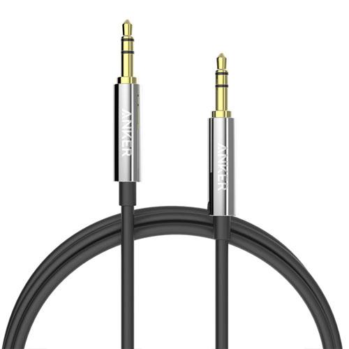 Аудио кабель Anker Premium Auxiliary Audio Cable (1,2 метра) чёрный (A7123011)Кабели и подставки для наушников<br>При проведении испытаний Anker Premium Auxiliary сгибали более 10000 раз, но кабель не был повреждён.<br><br>Цвет товара: Чёрный<br>Материал: Металл, силикон