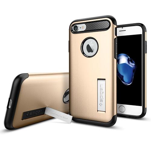 Чехол Spigen Slim Armor для iPhone 7/ iPhone 8 золотой (SGP-042CS20302)Чехлы для iPhone 7<br>Spigen Slim Armor — это тончайшая двухслойная защита для вашего Айфон.<br><br>Цвет товара: Золотой<br>Материал: Поликарбонат, полиуретан