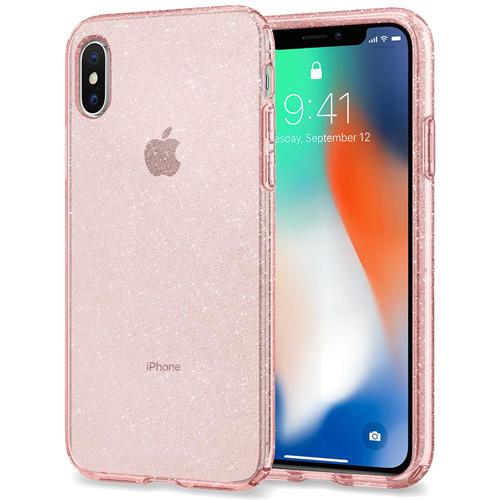 Купить со скидкой Чехол Spigen Liquid Crystal Glitter для iPhone X Rose Quartz (057CS22654)