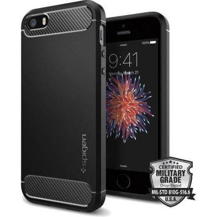 Чехол Spigen Rugged Armor для iPhone SE (SGP-041CS20167)Чехлы для iPhone 5s/SE<br><br><br>Цвет товара: Чёрный<br>Материал: Полиуретан
