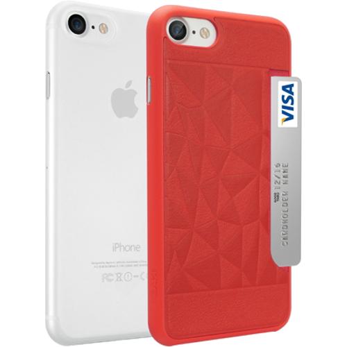 Набор чехлов Ozaki O!coat Jelly+Pocket 2 in 1 для iPhone 7 (Айфон 7) красный+прозрачныйЧехлы для iPhone 7<br>Чехол Ozaki Jelly 0.3 + Ozaki Pocket для iPhone 7 - прозрачный/красный<br><br>Цвет товара: Разноцветный<br>Материал: Поликарбонат, полиуретановая кожа