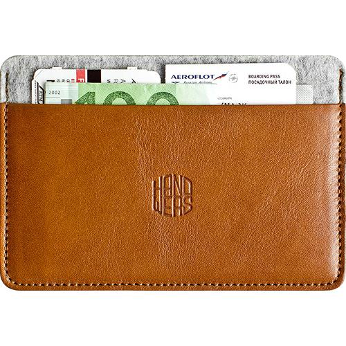 Документница Handwers Document Holder Habit коричневая со светлымКошельки и портмоне<br><br><br>Цвет товара: Коричневый<br>Материал: Натуральная кожа, войлок