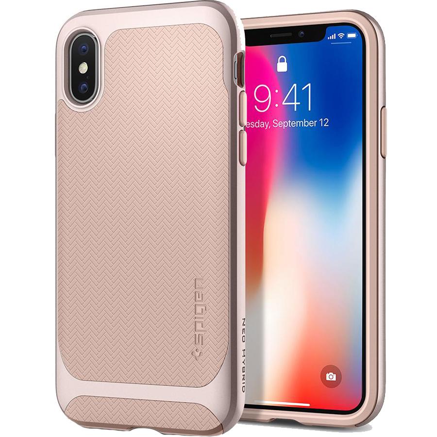 Чехол Spigen Case Neo Hybrid для iPhone X бежевый (057CS22169)Чехлы для iPhone X<br>Spigen Neo Hybrid — стильный и прочный чехол для мощного смартфона Apple iPhone X с текстурой «ёлочка».<br><br>Цвет товара: Бежевый<br>Материал: Термопластичный полиуретан, поликарбонат