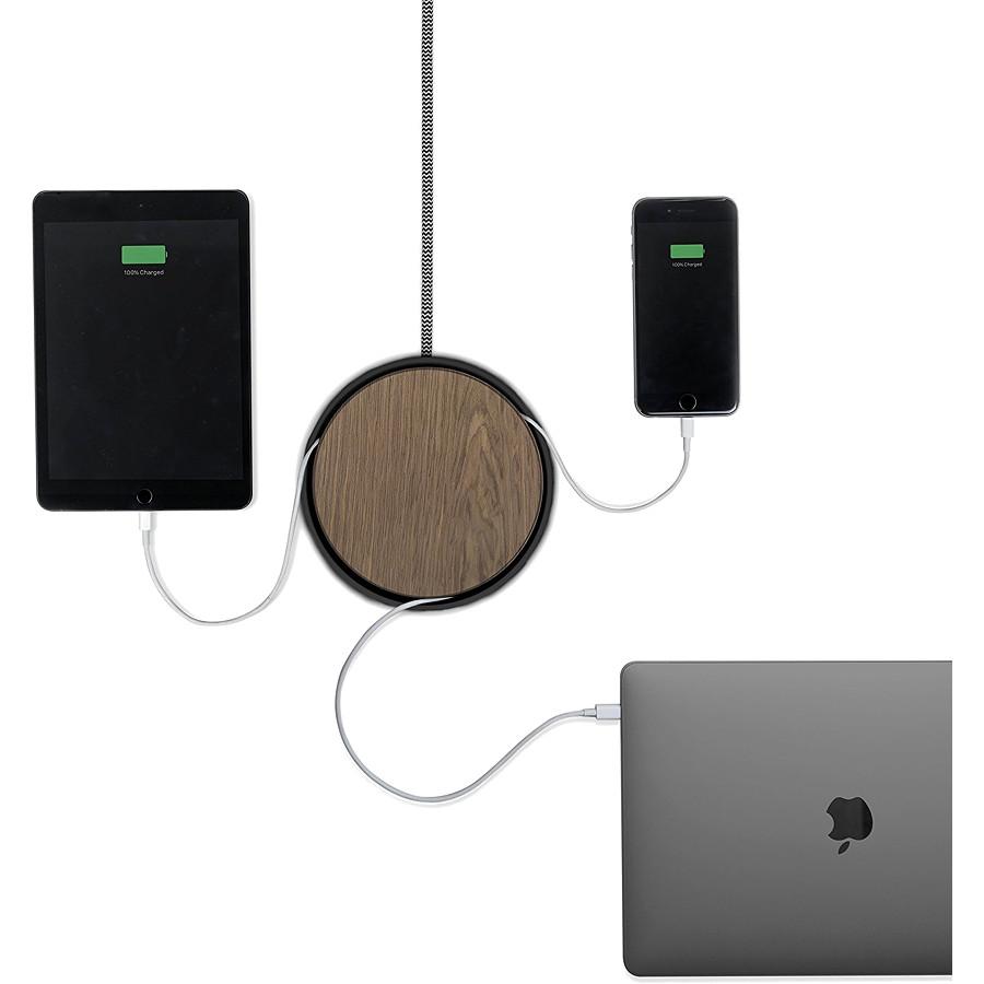 Сетевое зарядное устройство Native Union Eclipse Charger Чёрный/Орех (EC-BLK-WD-EU)Сетевые и беспроводные зарядки<br>Native Union Eclipse Charger с тремя USB портами, технологией Smart IC и кабель каналом.<br><br>Цвет: Чёрный<br>Материал: Пластик, дерево