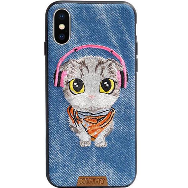 Чехол Nimmy Pet Denim для iPhone X (Котёнок) синийЧехлы для iPhone X<br>Nimmy Pet Denim притягивает взгляд окружающих с первой секунды.<br><br>Цвет: Синий<br>Материал: Пластик, силикон, текстиль