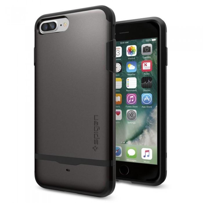Чехол Spigen Flip Armor для iPhone 7 Plus стальной (SGP-043CS20776)Чехлы для iPhone 7 Plus<br>Удобный и надёжный чехол-кошелёк Spigen Flip Armor для вашего iPhone 7 Plus.<br><br>Цвет товара: Серый<br>Материал: Поликарбонат, полиуретан