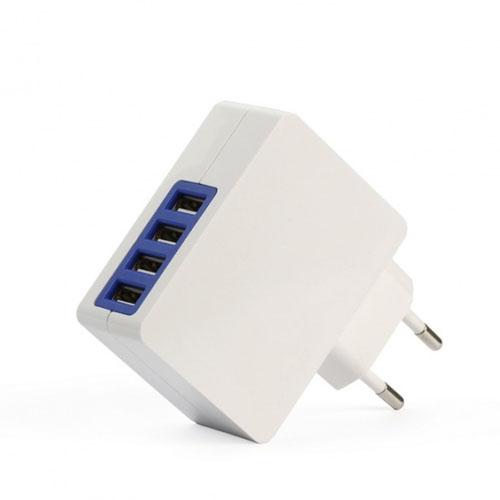 Сетевое зарядное устройство SmartBuy QUATTRO (4 USB) 4.2A для iPhone/iPad/AndroidСетевые зарядки<br>Сетевое ЗУ SmartBuy QUATTRO (4 USB) 4.2A белое<br><br>Материал: Пластик, металл